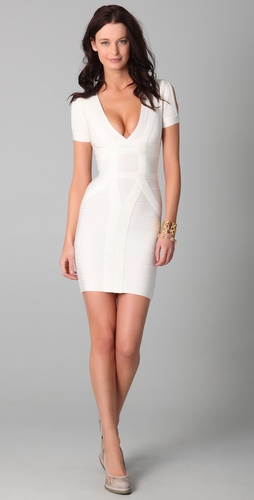 Herve Leger Short Sleeve V Neck Dress