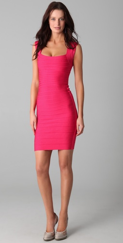 Herve Leger Signature Essentials Square Neck Dress