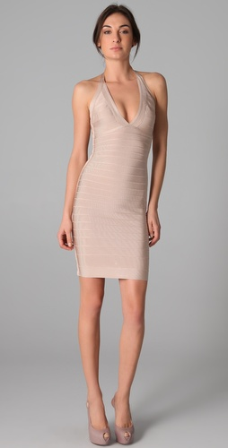 Herve Leger Signature Essentials Halter Dress
