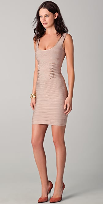 Herve Leger Cutout Scoop Neck Dress