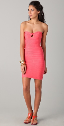 Herve Leger Strapless Knot Dress