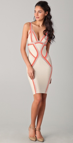 Herve Leger V Neck Dress with Piping