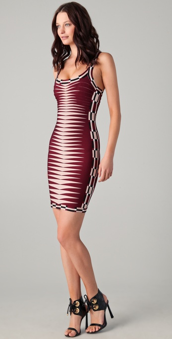 Herve Leger Chevron Bandage Dress