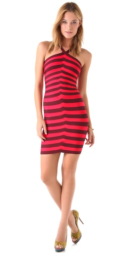 Herve Leger Striped Halter Dress