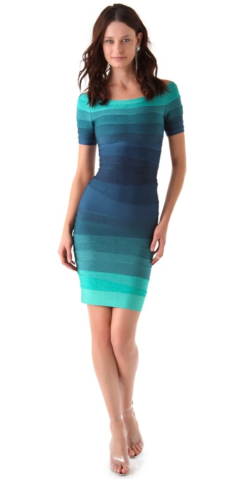 Herve Leger Off Shoulder Ombre Dress