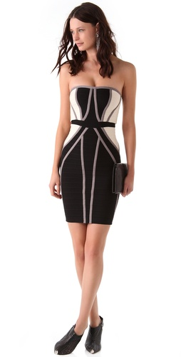 Herve Leger Strapless Colorblock Dress