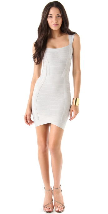 Herve Leger Sleeveless Square Neck Dress