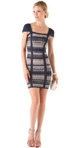 Herve Leger Cap Sleeve Printed Dress