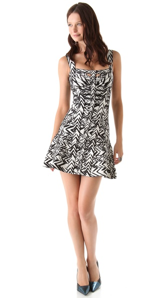Herve Leger Graffiti Printed Mini Dress