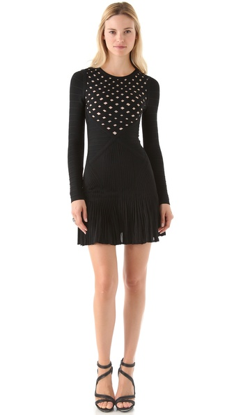 Herve Leger Long Sleeve A-Line Dress