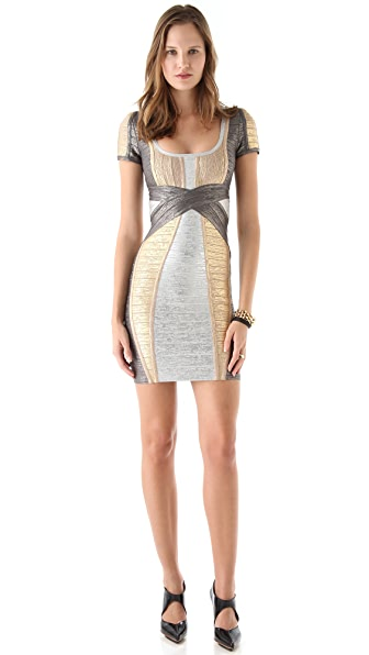 Herve Leger Short Sleeve Metallic Dress