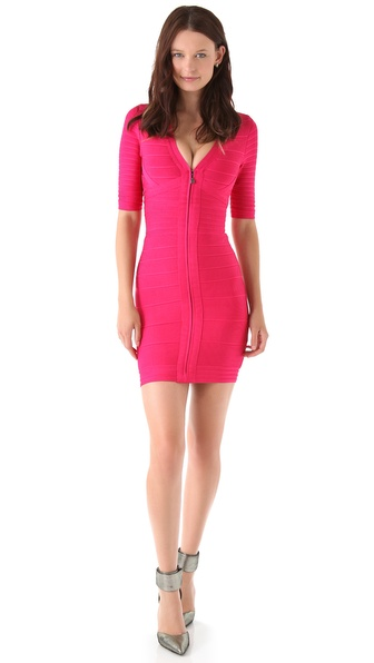 Herve Leger Zip Front V Neck Dress