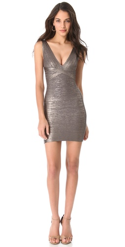 Shop Herve Leger Gunmetal V-Neck Dress and Herve Leger online - Apparel,Womens,Dresses,Cocktail,Night_Out, online Store