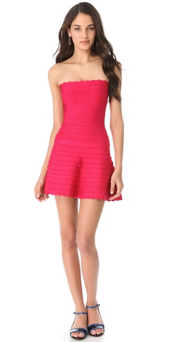 Shop Herve Leger Strapless A-Line Dress and Herve Leger online - Apparel,Womens,Dresses,Cocktail,Night_Out, online Store