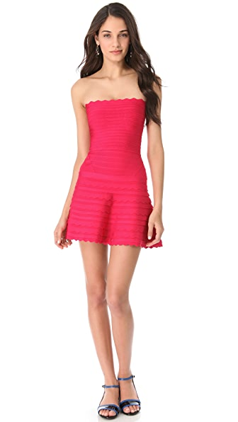 Herve Leger Strapless A-Line Dress