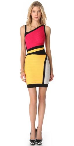 Herve Leger Colorblock Sheath Dress