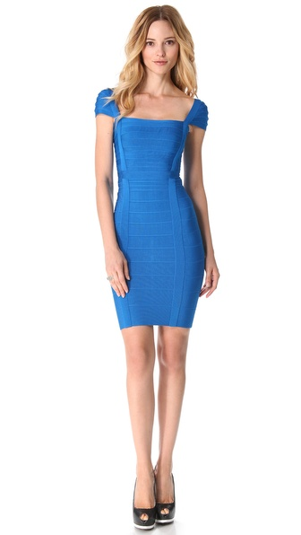 Herve Leger Short Sleeve Dress