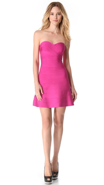 Herve Leger Strapless Mid Thigh Dress