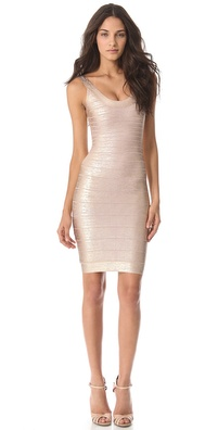 Herve Leger Catherine Foil Dress
