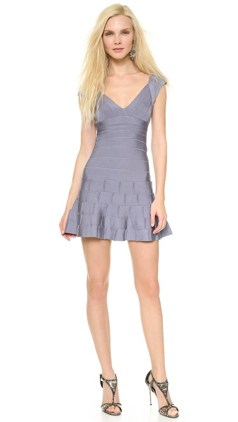 Herve Leger Mirah Dress With Detailed Hem - Chambray at Shopbop / East Dane