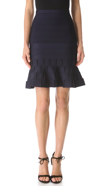 Herve Leger Cadi Ruffle Hem Skirt