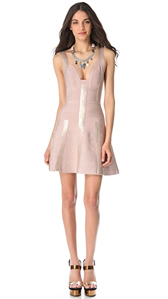 Herve Leger Shayla Foil A-Line Dress