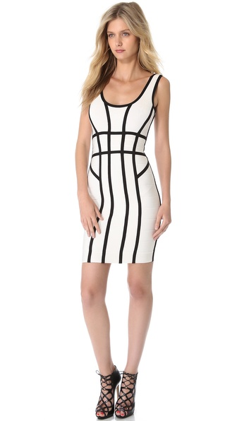 Herve Leger Mae Combo Sheath Dress