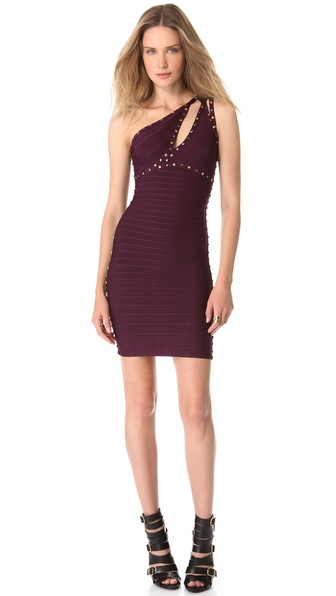Herve Leger One Shoulder Cocktail Dress