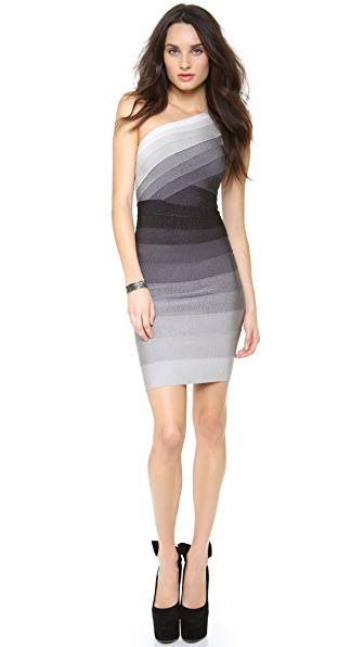 Herve Leger One Shoulder Combo Dress