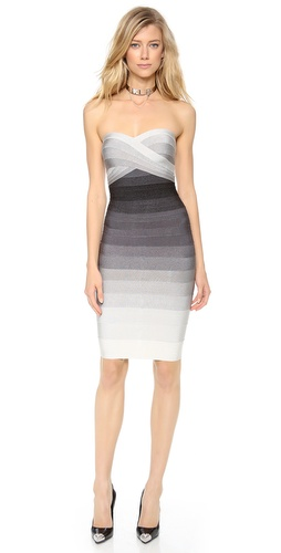 Shop Herve Leger online and buy Herve Leger Izzie Ombre Strapless Dress - An Herve Leger bandage dress makes a striking statement in elegant ombré. This flattering sheath is designed with a crossover sweetheart neckline, and side boning structures the bodice. Strapless. Hidden back zip. Unlined.  Fabric: Ribbed mid-weight jersey. 90% rayon/9% nylon/1% spandex. Dry clean. Imported, China.  MEASUREMENTS Length: 27in / 68.5cm, from center back - Dove Combo