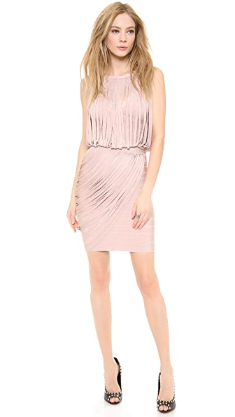 Herve Leger Leilei Fringe Cocktail Dress