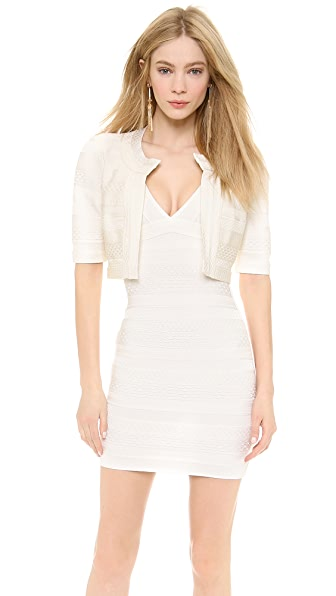 Herve Leger Textured Cropped Jacket
