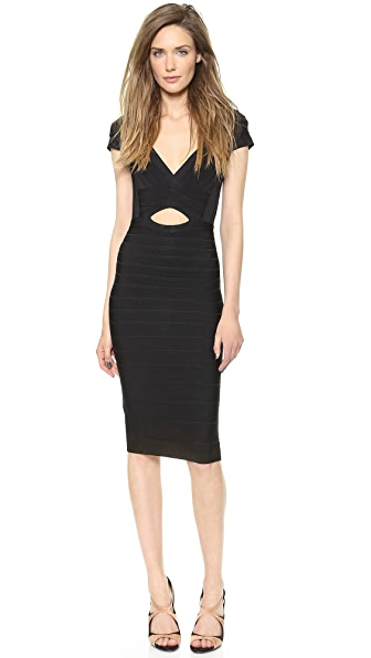 Herve Leger Cara Cap Sleeve Dress