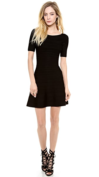 Herve Leger Liza Boat Neck Mini Dress