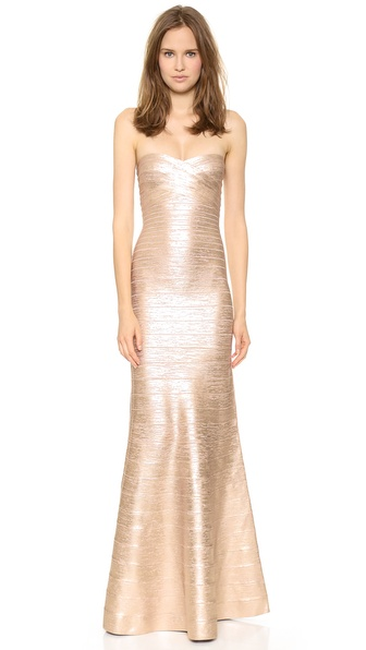 Shop Herve Leger online and buy Herve Leger Sara Strapless Gown Rose Gold Combo dresses online