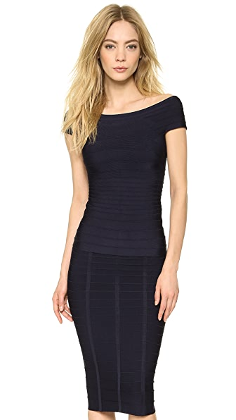 Herve Leger Pamela Boat Neck Top