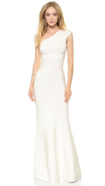Herve Leger Elena One Shoulder Gown