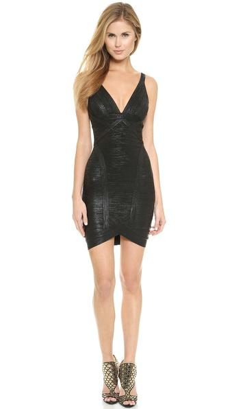 Shop Herve Leger online and buy Herve Leger Ari Cocktail Dress Black Combo online