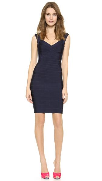 Shop Herve Leger online and buy Herve Leger Sarai Dress Pacific Blue online store