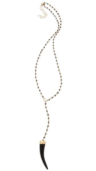 Heather Hawkins Y Necklace with Black Horn