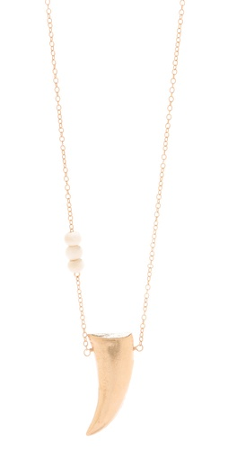 Shop Heather Hawkins Bone Bead Gold Horn Necklace and Heather Hawkins online - Accessories,Womens,Jewelry,Necklace, online Store