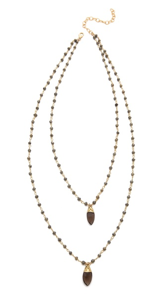 Heather Hawkins Double Layer Marquis Gemstone Necklace