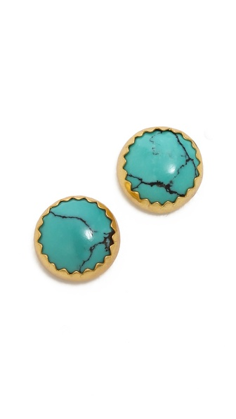Heather Hawkins Cabochon Turquoise Stud Earrings
