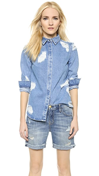 House Of Holland House Of Holland Lace Denim Shirt (Blue)