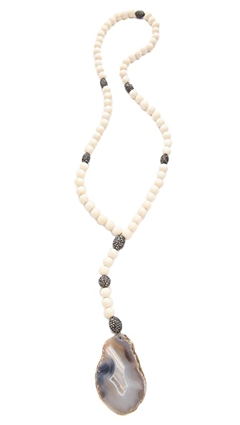 Hipchik Couture Agate Slice Wood Bead Necklace