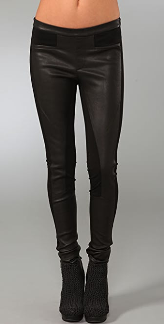 Helmut Lang Jersey & Leather Combo Leggings