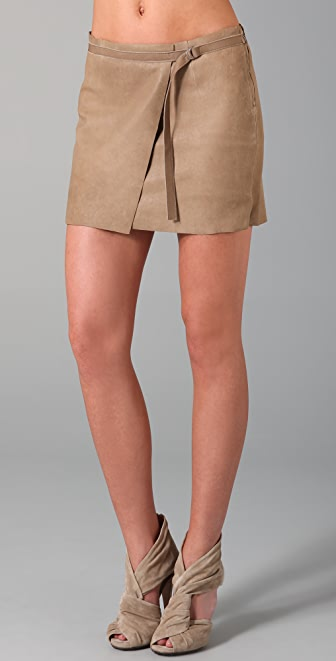 Helmut Lang Stoned Wrap Leather Skirt