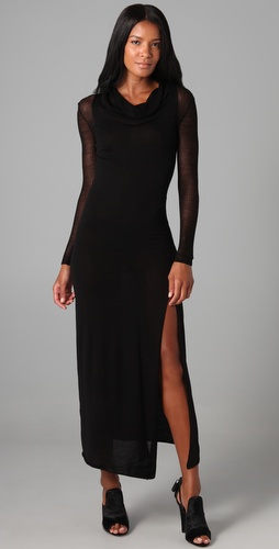 Helmut Lang Long Dress with Sheer Sleeves