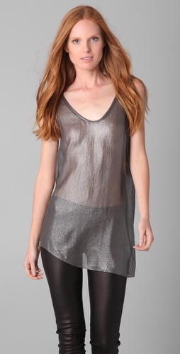 Helmut Lang Crystal Oversized Metallic Tank