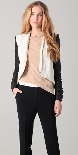 Helmut Lang Leather Sleeve Jacket